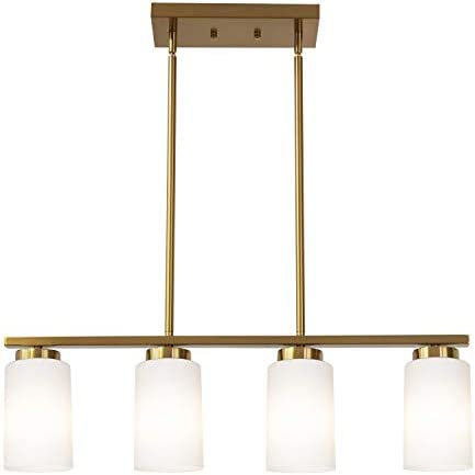 TODOLUZ Modern 4 Lights Pendant Light Fixture in Brass Farmhouse Chandelier with Opal White Glass for Kitchen