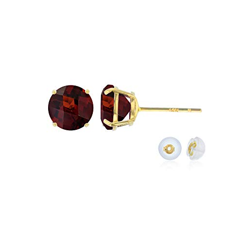 Genuine 14K Solid Yellow Gold 6mm Round Natural Red Garnet January Birthstone Stud Earrings