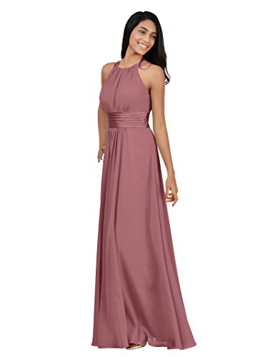 Alicepub Sleeveless Bridesmaid Dresses Long for Women Formal Elegant Halter Evening Dresses for Weddings Empire Maxi Party Prom Gown, Dusty Rose, US8 ()