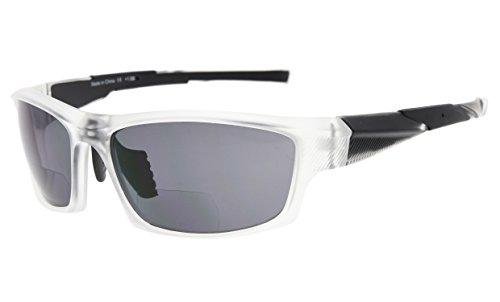 Eyekepper TR90 Sports Bifocal Sunglasses Baseball Running Fishing Driving Golf Softball Hiking Readers (Matte Transparent, 2.00) ()