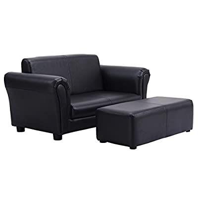 HPWHome - Kids Sofa With Ottoman (Black) - Ideal Space Saving Furniture - Comfortable Material - Lightweight For Easy Handling