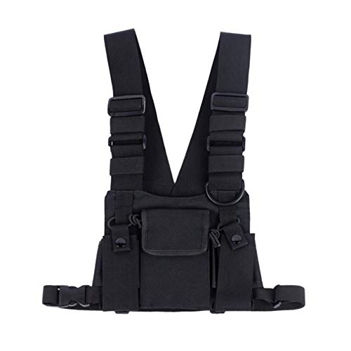 Trdio Universal Hands Free Radio Vest Chest Rig Harness Bag Holster Front Pack Pouch for Two Way Radio Walkie Talkie(Rescue Essentials) (Black)