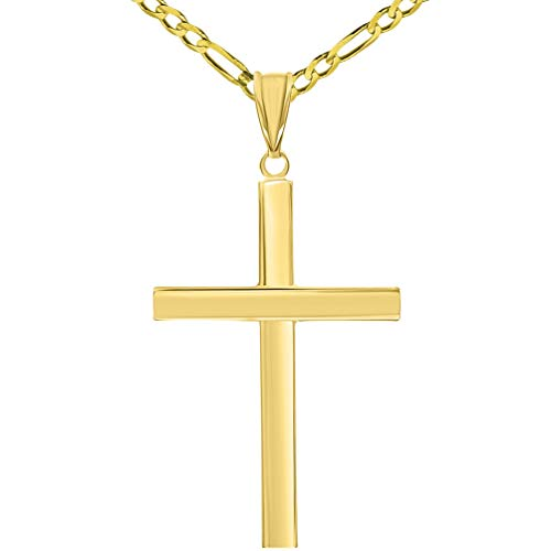 (14k Yellow Gold Polished Simple Religious Cross Pendant with Figaro Chain Necklace, 18