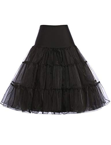 GRACE KARIN Women's Black Crinoline Underskirts Plus Size Hoopless Bridal Petticoat for Ball Gown (Black,3X)