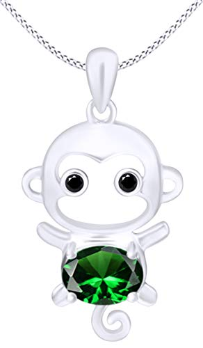 (Christmas Sale Simulated Emerald Cute Monkey Animal Cartoon Pendant Necklace in 14K White Gold Over Sterling Silver)