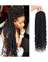 6Packs/Lot Curly Faux Locs braids 20Inch Faux Locs Crochet Hair with Curly Ends Goddess Crochet Synthetic Braiding Extensions(1B#) (Best Braid Pattern For Crochet Braids)