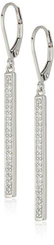 Sterling Silver Cubic Zirconia Vertical Bar Dangle Earrings -