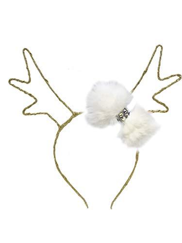 Bari Lynn Glittered Reindeer Antlers Headband With Fur Bow In White/Gold ()