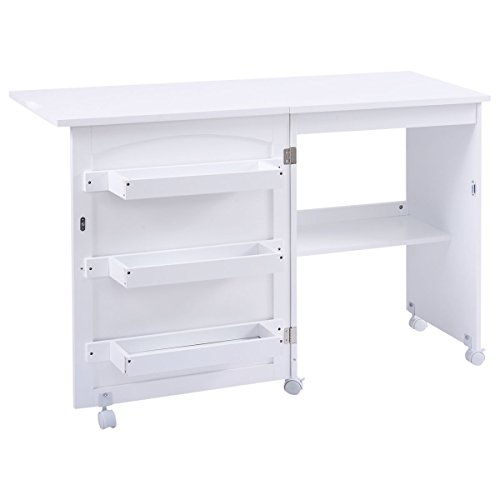Giantex White Folding Swing Craft Table Shelves Storage Cabinet Home Furniture W/Wheels by Giantex