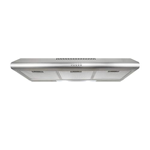 Cosmo 5MU36 36-in Under-Cabinet Range-Hood 200-CFM | Ducted / Ductless Convertible Top / Rear Duct , Slim Kitchen Stove Vent with LED Lights, 3 Exhaust Fan Speeds, Reusable Filters (Stainless Steel) ()