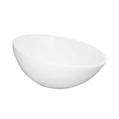 MAYKKE Verden Ceramic Round Vessel Sink | Modern Above Counter Circular Bathroom Basin Bowl for Bathroom Lavatory, Washroom, & Laundry Room | White, (Frosted Glass Vessel Pedestal Vanity)