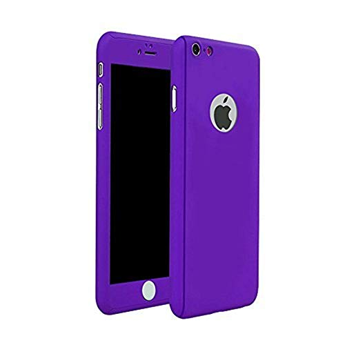 iPhone 6 Plus/6s Plus Full Body Hard Case-Aurora Purple Front and Back Cover with Tempered Glass Screen Protector for iPhone 6 Plus/6s Plus 5.5 Inch (Purple)