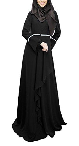 Classico Epoca Matita Elegante Maniche Lunghe A Nera Coolred Musulmano donne Maxi Vestito SE7IqI