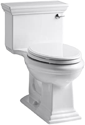 KOHLER K-3813-RA-0 Memoirs Stately Comfort Height One-Piece Elongated 1.28 GPF Toilet with AquaPiston Flush Technology and Right-Hand Trip Lever, White