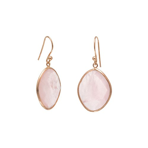 Rose Gold-Flashed Sterling Silver French Wire Earrings Faceted Rose Quartz
