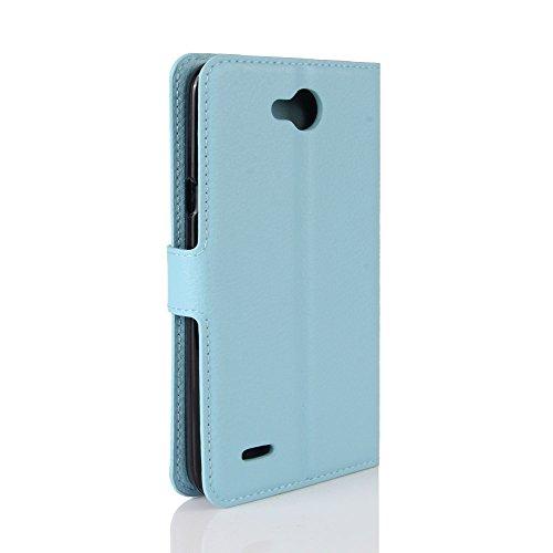 LORDWEY® para LG X power 2 Estuche Carcasas y fundas de billetera Cubierta cuero PU caso Flip con ranuras para tarjetas y la función de pie -azul