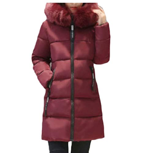 Red Coat Hood security Fur with Faux Down Jacket Zipper Puffer Women Long Winter Wine xFYOwq