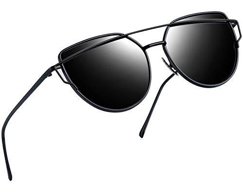 Joopin Polarized Cat Eye Sunglasses for Women Metal Frame Sun Glasses UV400 Shades (Black Frame Black Lens) ()
