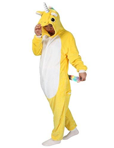 [LATH.PIN Unicorn Onesie Animal Pajamas Adult Sleepwear Kigurumi Cosplay Halloween Costume (M (Height 161-170 CM), Yellow)] (Easy Cosplay Costume Ideas)