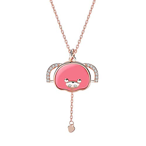 Melody 925 Sterling Silver Women Fashion Pink Piggy Necklace Ear Rotating Pendant Spongebob Clavicle ()