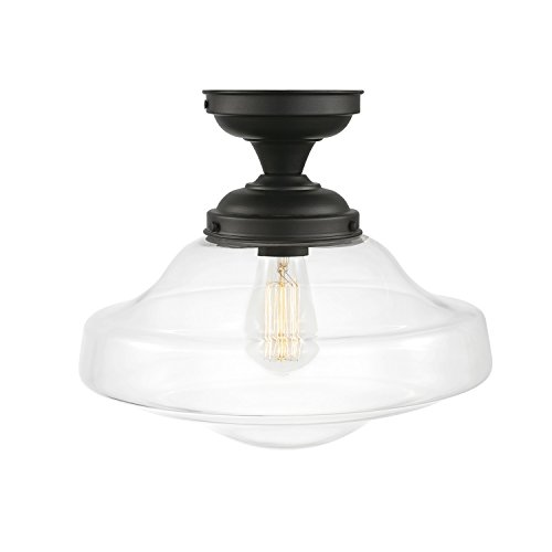 Globe Electric 65849 Lucerne 1-Light Semi-Flush Mount Dark Bronze with Clear Shade 1 Light Flush Mount Globe