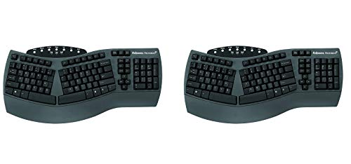 (Fellowes Microban Split Design Wired Keyboard, Dark Gray - FEL98915 (Pack of 2) )