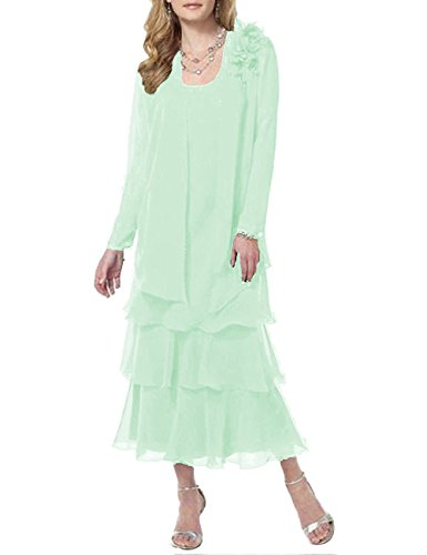 Pretygirl Women's Flower Chiffon Long Tiered Mother Of The Bride Dress Prom Evening Dresses With Jacket New(US 12, Mint)