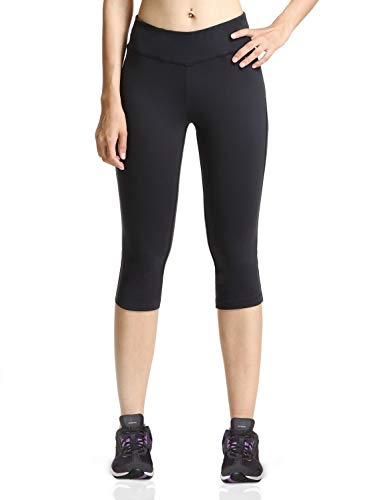 Baleaf Women's Yoga Capri Pants Workout Running Legging with Inner Pocket Non See Through Black Size L