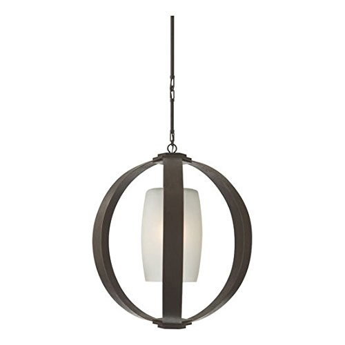 Visual Comfort CHC2531AI Metal Banded 1 Light Large Pendant in Aged Iron with Fr - Fixture Aged Iron