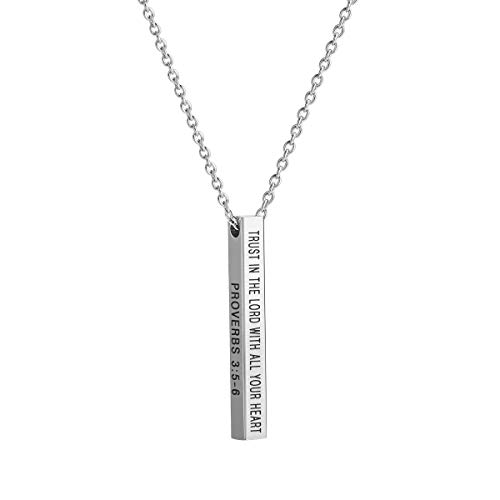 Bar Necklace Four Sided Engraved Inspirational Necklace Trust in The Lord with All Your Heart Proverbs 3:5 6 Graduation Necklace Gift