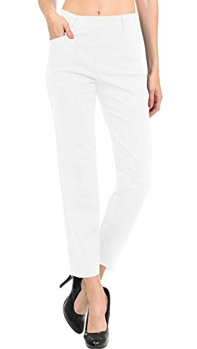 Women White Collection (VIV Collection New Women's Straight Fit Trouser Ankle Pants (Medium, White))