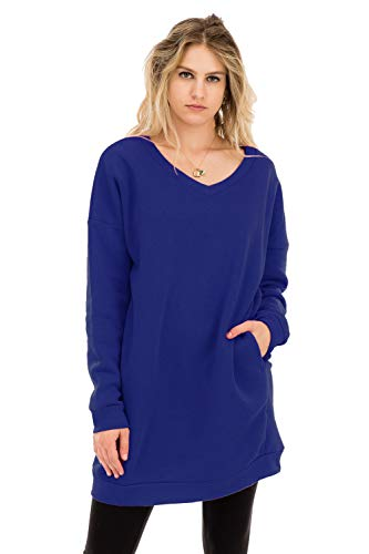 (Casual Loose Fit Long Sleeves Over-Sized Tunic Sweatshirts Denim Blue 2X)
