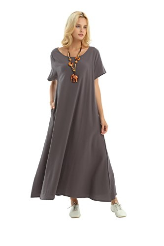 Plus Pockets Clothing Summer F131A Gray Size Linen Dress Soft Loose Cotton Spring Side Anysize zPxqwwp