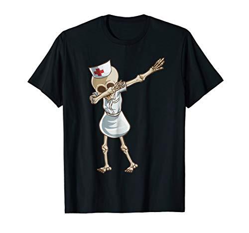 (Halloween Dabbing Funny Skeleton Nurse Shirt RN Costume)