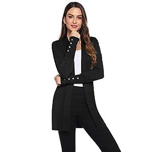Gilet Femme Long Tricot Veste Longue Femme Cardigan Long Manches Longues Casual Ouvert Hiver Automne Printemps Vintage