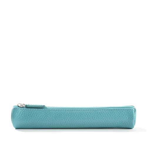 Small Pencil Case - Full Grain Leather - Teal (blue)
