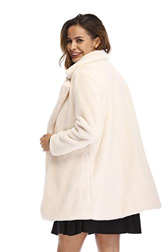 Sintética Vestidos Larga De Mujer Invierno Medio Para Polo Collar white Abrigo Piel Estilo xxl Largos Manga Largo q0PHdxEq