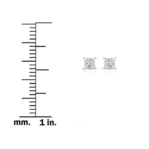14K Or blanc Coupe diamant solitaire Boucles d'oreille à tige (1/3carat au total, I-j, I1-I2)