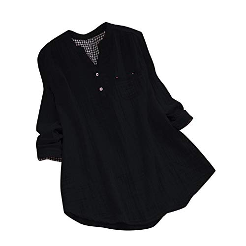 (Women Tops, ANJUNIE Long Sleeve Loose Cotton V-Neck Shirt Fashion Slim)