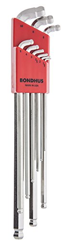 Bondhus 77099 Stubby Double Ball End L-Wrench Set with BriteGuard Finish and Extra Long Arm, 9 Piece