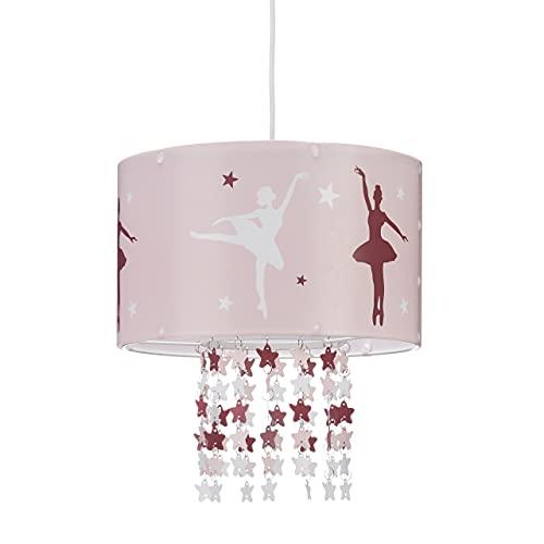 Relaxdays Lámpara Colgante Infantil, Motivo Bailarina, Estrellas Colgantes de Plástico, Rosa, Habitación de Niños, 30 cm