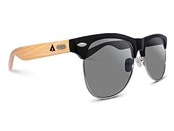 TREEHUT Wooden Bamboo Sunglasses Temples Half Frame Rim Clubmaster, Black Classic