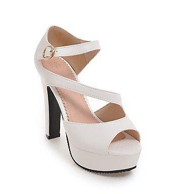 Y Robusto sandalias Lvyuan vestido Fiesta Tacón Club Amarillo Blanco Informal semicuero negro Gris zapatos Noche Del znzxS1q5