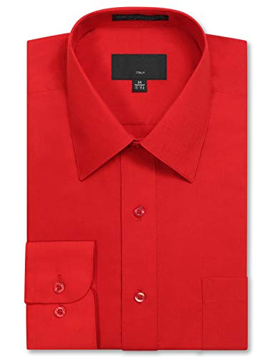 JD Apparel Mens Long Sleeve Regular Fit Solid Dress Shirt 20-20.5 N 36-37 S Red,XXXX-Large