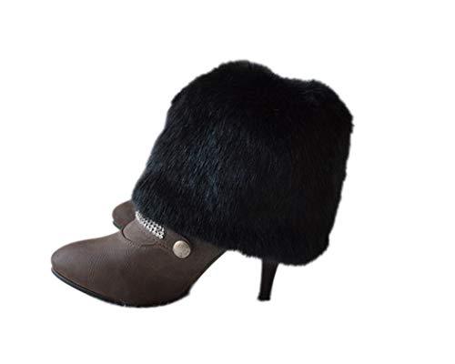 Tngan Womens Faux Fur Leg Warmers Boot Covers Furry Boot Cuff Short Boot Sleeves Black 20cm -