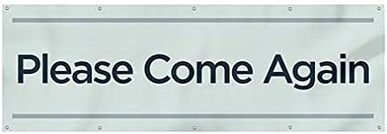 12x4 Please Come Again Basic Teal Wind-Resistant Outdoor Mesh Vinyl Banner CGSignLab