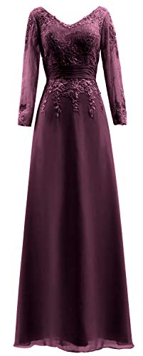 Sleeves V Women Bride MACloth of Mother Lace Gown Plum Long Neck Dress Evening The qZaxEzU6