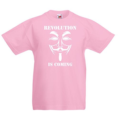 lepni.me Kids T-Shirt The Revolution is Coming - The Anonymous Hackers mask, V for Vendetta (1-2 Years Pink White) for $<!--$13.27-->