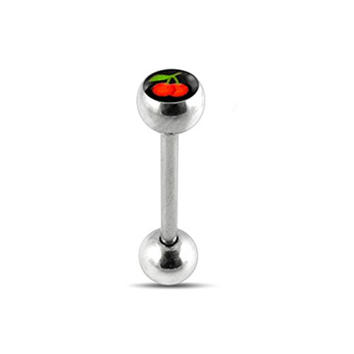 Prince Albert Cherry (Black Cherry Logo Tongue Ring. 14Gx7/8(1.6x22mm) 316L Surgical Steel Barbell with 6/6mm Ball Tongue Piericng jewelry. Price per 1 Piece only.)