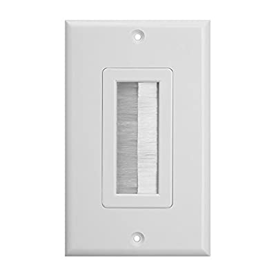 Single Brush Wall Plate Insert - Decora-Style Cable Pass Through Wall Plate for Wires - Gang Cable Access Strap/Wall Socket Plug Port for HDTV, HDMI, Home Theater Systems and More [White] from Buyer's Point